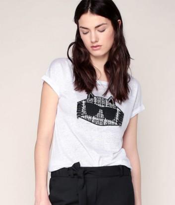 Льняная футболка Karl Lagerfeld CHOUPETTE белая