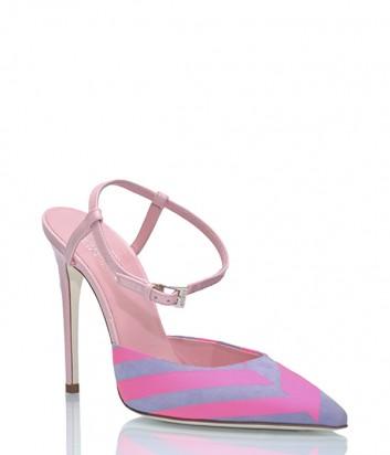 Кожаные босоножки Loriblu 742083 серо-розовые