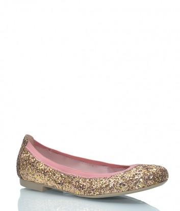Кожаные балетки Pretty Ballerinas 37.191 покрыты золотым глиттером