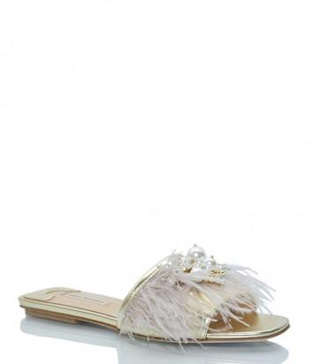 Бежевые сабо Fabio Rusconi 4231 декорированные перьями