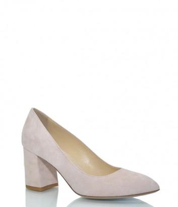 Замшевые туфли Fabio Rusconi Codi на широком каблуке пудровые