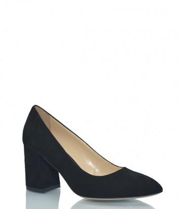 Замшевые туфли Fabio Rusconi Codi на широком каблуке черные