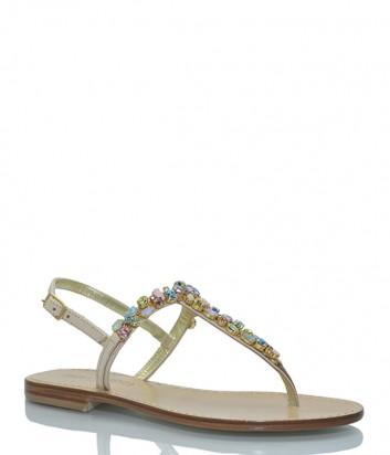 Кожаные сандалии Paola Fiorenza 532 FB бежевые с разноцветными кристаллами