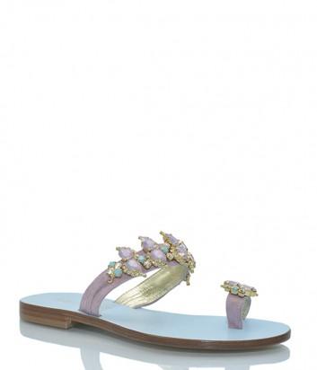Кожаные сандалии Paola Fiorenza PS 61 декорированная кристаллами