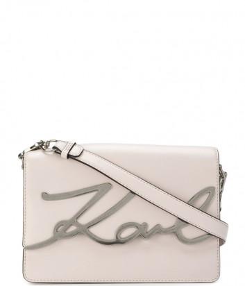 Сумка через плечо Karl Lagerfeld Signature в гладкой коже пудровая