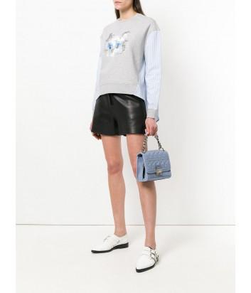 Сумка Karl Lagerfeld Kuilted из стеганной кожи нежно-голубая