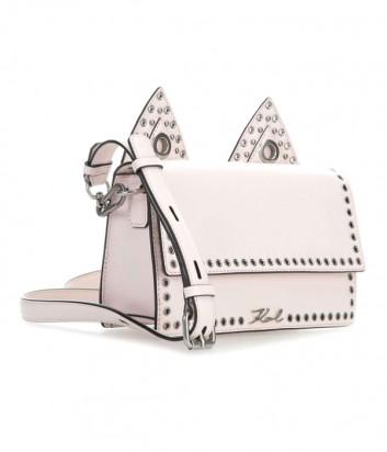 Кожаная сумка Karl Lagerfeld Rocky Choupette с заклепками по канту пудровая