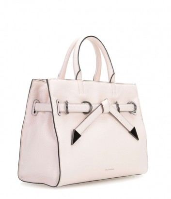 Каркасная сумка Karl Lagerfeld Rocky Bow из мягкой кожи пудровая