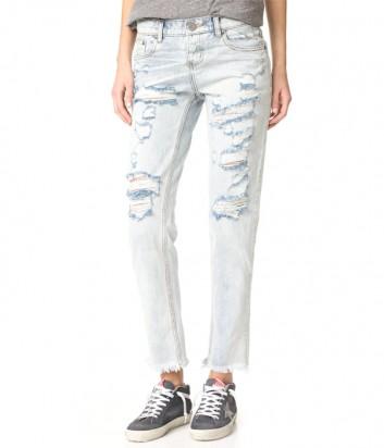 Нежно-голубые джинсы One Teaspoon с разрезами