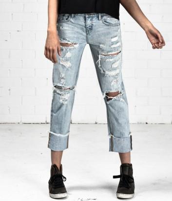 Рваные джинсы бойфренды One Teaspoon с надписями на отвороте
