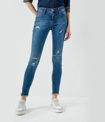 Синие джинсы скинни One Teaspoon с разрезами