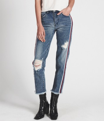 Высокие джинсы One Teaspoon Awesome Baggies синие