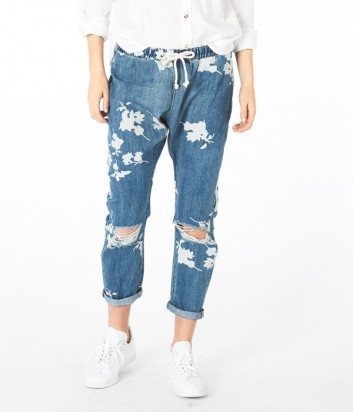 Женские джинсы One Teaspoon Havana Shabbies с принтом синие