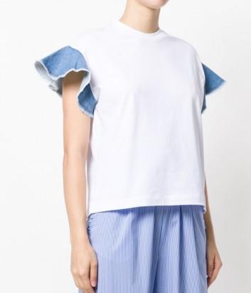 Белая хлопковая футболка MSGM с джинсовыми оборками