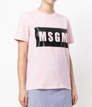 Нежно-розовая футболка MSGM с логотипом на груди