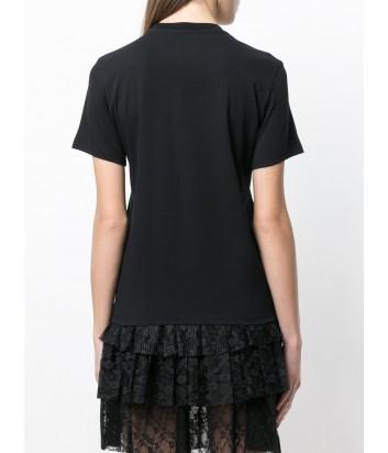 Черная футболка MSGM логотип декорирован бисером