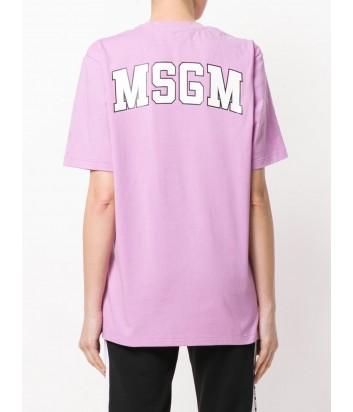 Лиловая футболка MSGM с логотипом на спине