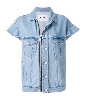 Джинсовая куртка на молнии MSGM с коротким рукавом голубая