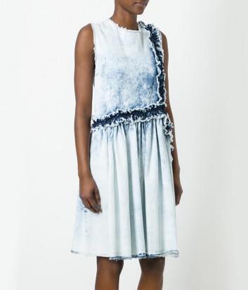 Голубое платье MSGM с джинсовыми рюшами