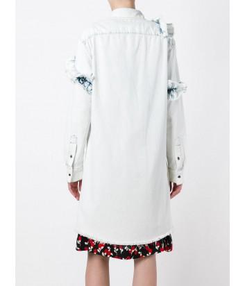Голубое платье-рубашка MSGM с джинсовыми рюшами