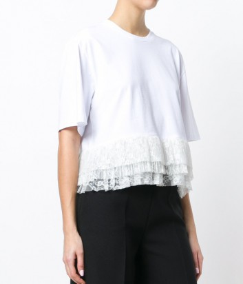 Белая футболка MSGM с оборками и завязками на спине