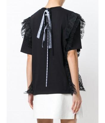 Черная футболка MSGM с оборками и завязками на спине