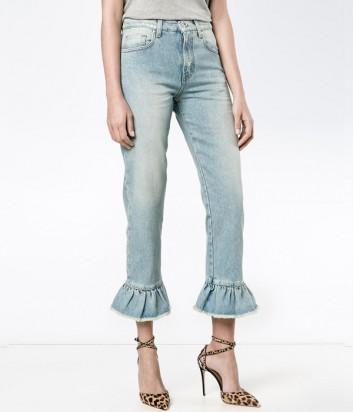 Голубые женские джинсы MSGM с оборками по низу