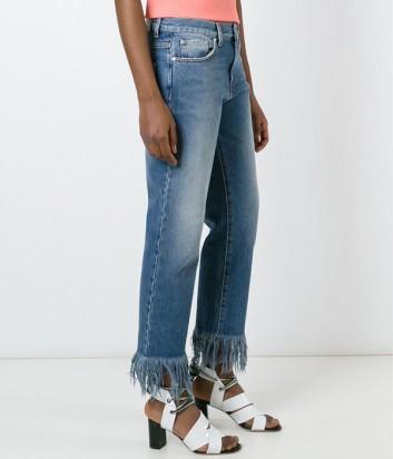 Синие женские джинсы MSGM с бахромой по низу