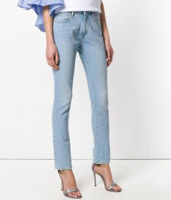 Голубые женские джинсы MSGM с надписью на щиколотках
