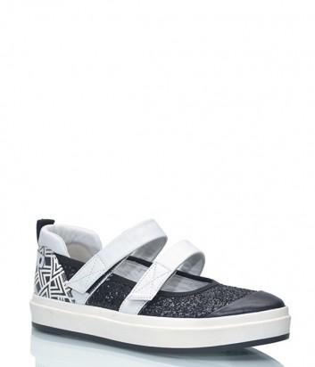 Женские туфли SHY 1130.450 покрытые глиттером черное-белые