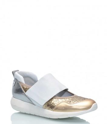 Кожаные кроссовки SHY 1132.480 бело-золотые