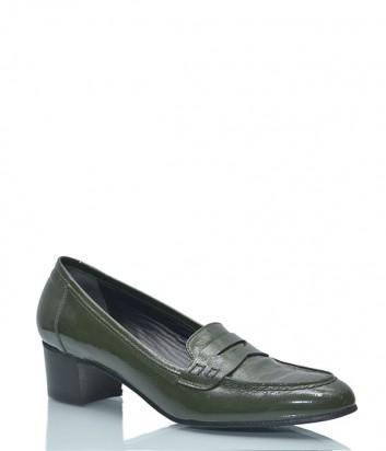 Лаковые туфли Fabio Rusconi 1215 на маленьком каблуке зеленые