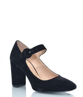 Бархатные туфли Fabio Rusconi 132 с застежкой на щиколотке черные