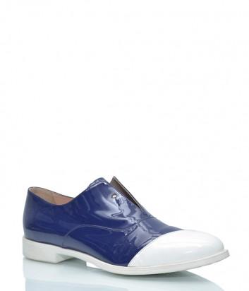 Синие лаковые туфли Marco Barbabella 5100 с белым носочком