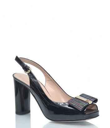 Лаковые босоножки Angelo Giannini 8072 черные с цветным бантиком