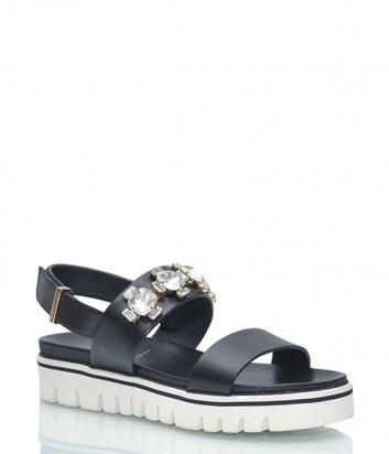 Кожаные сандалии Baldinini 699216 черные с кристаллами
