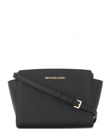 Кожаная сумка через плечо Michael Kors Selma черная