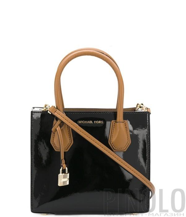 c43cf6fdb413 Лаковая сумка Michael Kors Mercer Color-Block комбинированная черная ...