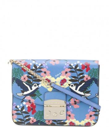 Кожаная сумка Furla Metropolis 941931 синяя с птичками