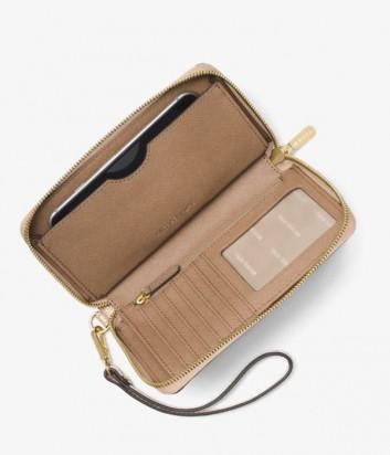 Кожаный кошелек Michael Kors Mercer с отделением для мобильного бежевый