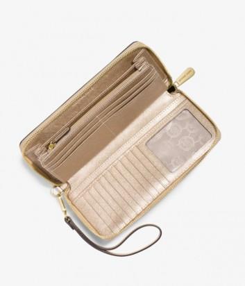 Женское портмоне Michael Kors Jet Set из кожи сафьяно золотое