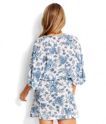 Легкое платье Seafolly 53310-KA белое с голубым узором