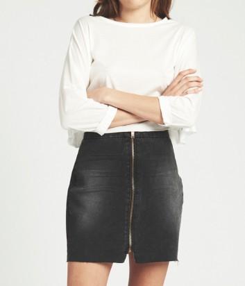 Джинсовая юбка One Teaspoon с молнией по центру черная