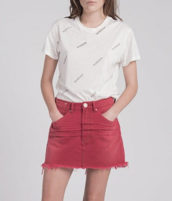 Джинсовая мини юбка One Teaspoon с рваным низом красная