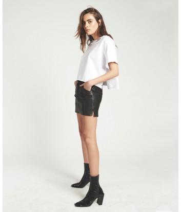 Кожаная мини юбка One Teaspoon Vanguard черная