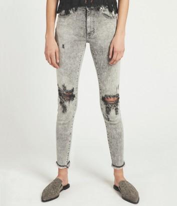 Женские джинсы скинни One Teaspoon Spirit Freebirds серые с дырками на коленях