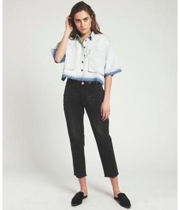 Укороченные женские джинсы One Teaspoon Anchor с вертикальными стрелками черные
