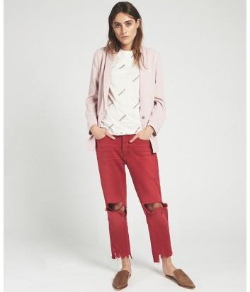 Укороченные джинсы One Teaspoon Hooligans с дырками на коленях красные