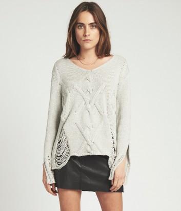 Вязанный свитер One Teaspoon с разрезами и дырками серый