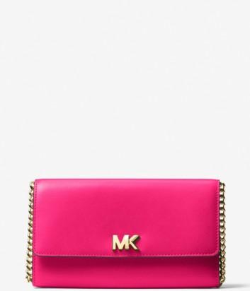 Кожаная сумка-клатч Michael Kors Mott на длинном ремешке ярко-розовая